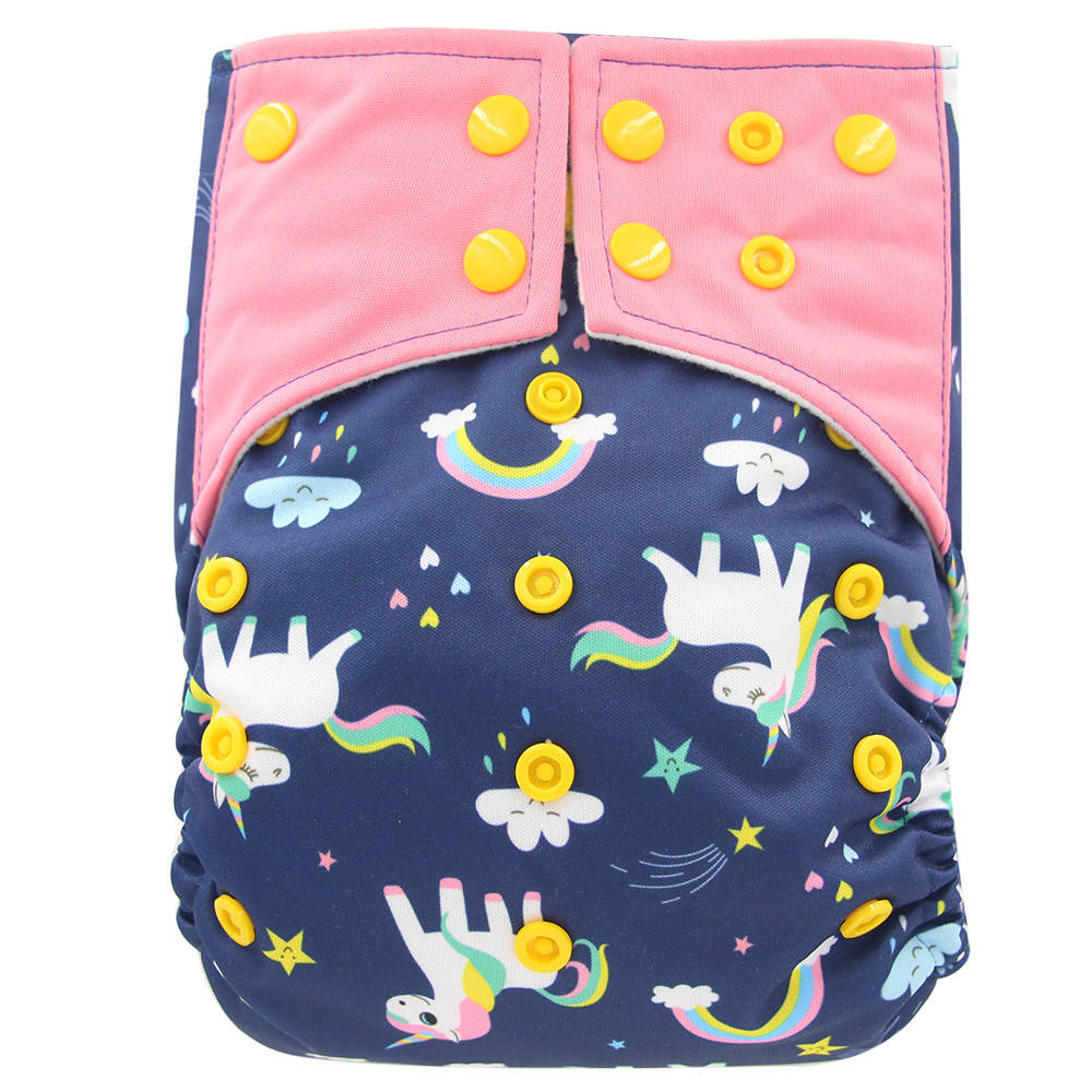 AI2 PUL Unicorn Printed Diaper Cover With Stay Dry Bamboo Charcoal Cloth Inner All In Two Baby Reusable Cloth Diaper Nappies