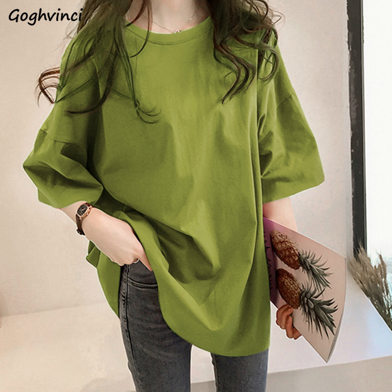 Summer T shirts Women Solid O neck Long Style Short Sleeve Tees Simple Womens Plus Size 2XL Oversize Loose Harajuku Basic Trendy T-Shirts  - AliExpress