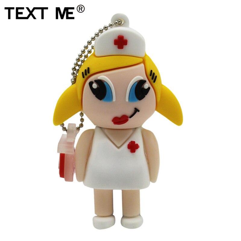 TEXT ME  Cartoon Nurse Model Usb2.0 4GB 8GB 16GB 32GB 64GB Pen Drive USB Flash Drive Creative Gifty Stick Pendrive
