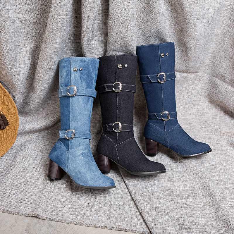 REAVE KEDI Kadın diz botları mavi kot kovboy patik tıknaz fermuar toka denim ayakkabı orta buzağı çizmeler Bayan ayakkabıları büyük boy 44 46