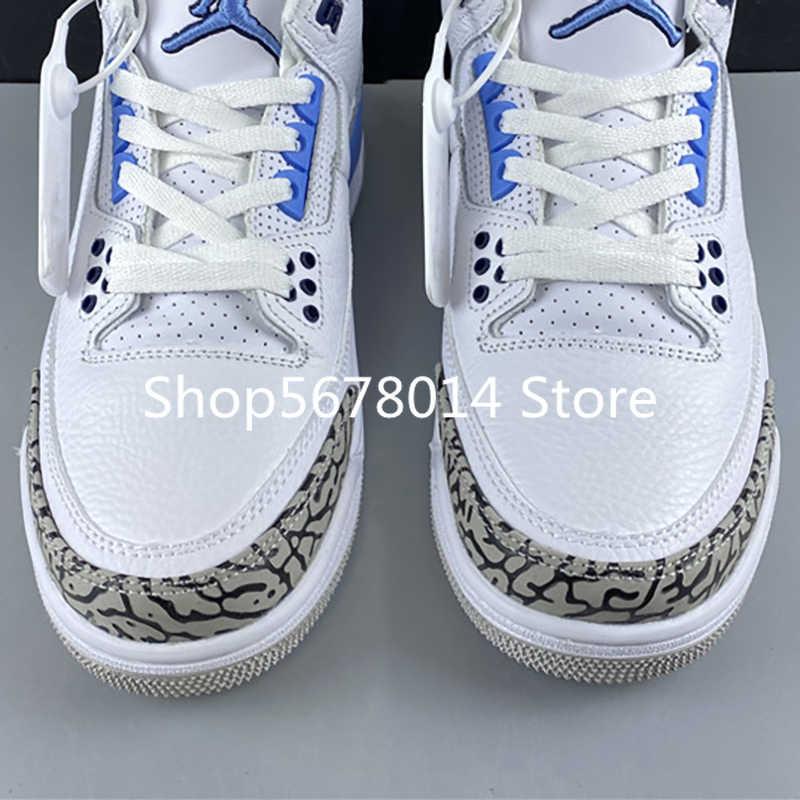 Hava 3 UNC beyaz Valor mavi 3s III başladı kadın erkek basketbol spor ayakkabı Sneakers en kaliteli Retro Jordans eğitmenler