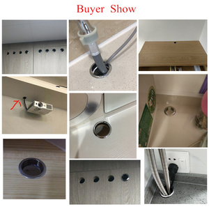 Image 3 - 60mm Alloy Table Cable Outlet Grommet Round Plug Cover for PC Desk Wire Holder Cabinet Vent Hole Decorative Furniture Hardware