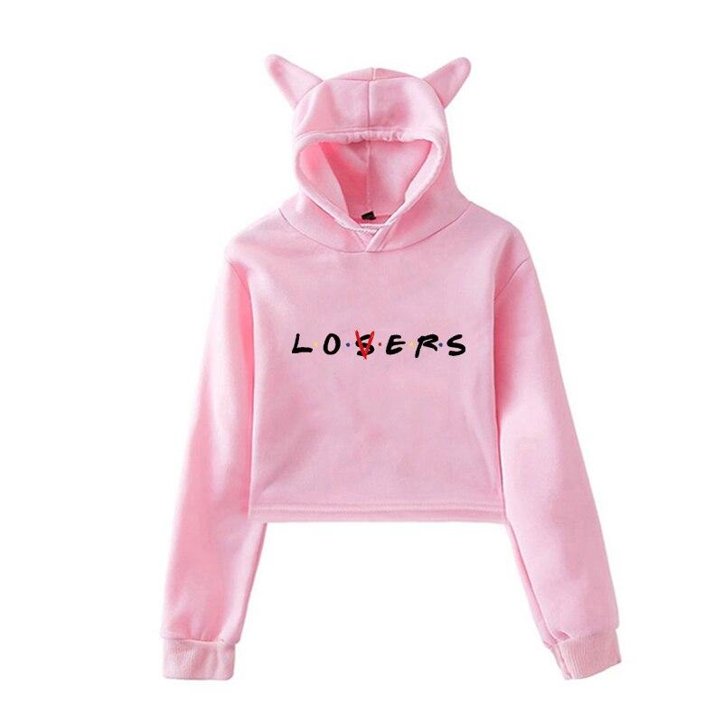 Crop Hoodie Sweatshirt For Girls Women Autumn Fashion Hoodie Lovers Losers Letter Printed Pullovers Sweatshirts Crop Top Hodie