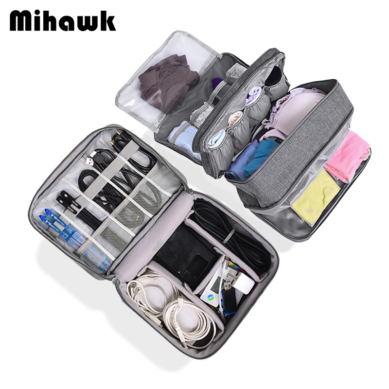 Mihawk Travel Digital Cable Bag Set Waterproof USB Cable Hard Disk Wires Case Power Bank Mobile Phone Organization Pouch Supply image