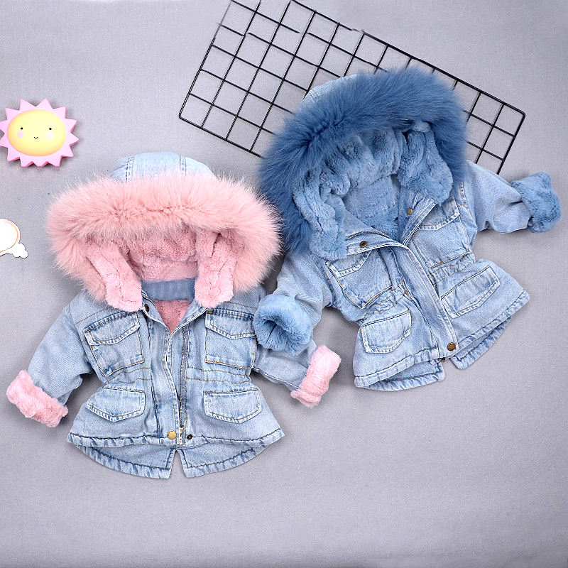 Winter thick girls denim jacket baby warm coat kids hooded outwear children fashion clothes fake fur velvet coul 2 to 7 yrs
