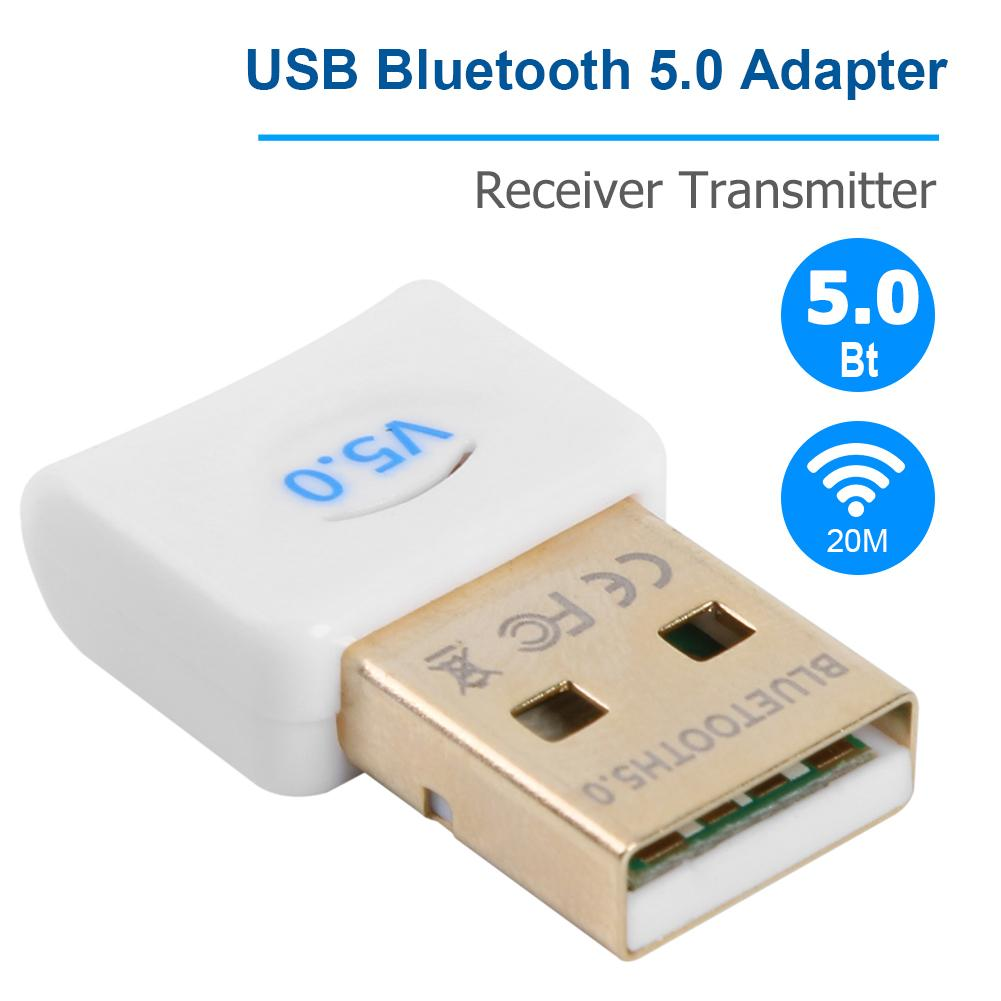 USB Bluetooth 5.0 Dongle Adapter With CD Built-in Driver For Bluetooth Devices Applicable To Windows 7/8/10/Vista/XP Mac