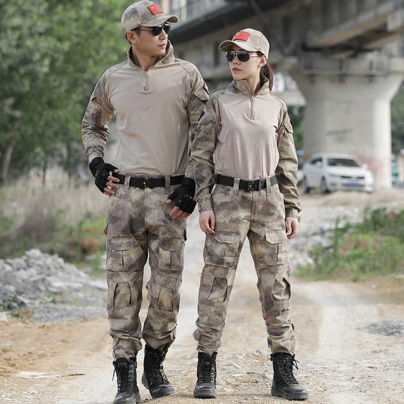 Tentara Militer Seragam Reruntuhan Pria Kamuflase Tempur Taktis Berburu Suit Airsoft Permainan Perang Kemeja + Celana Siku Bantalan Lutut