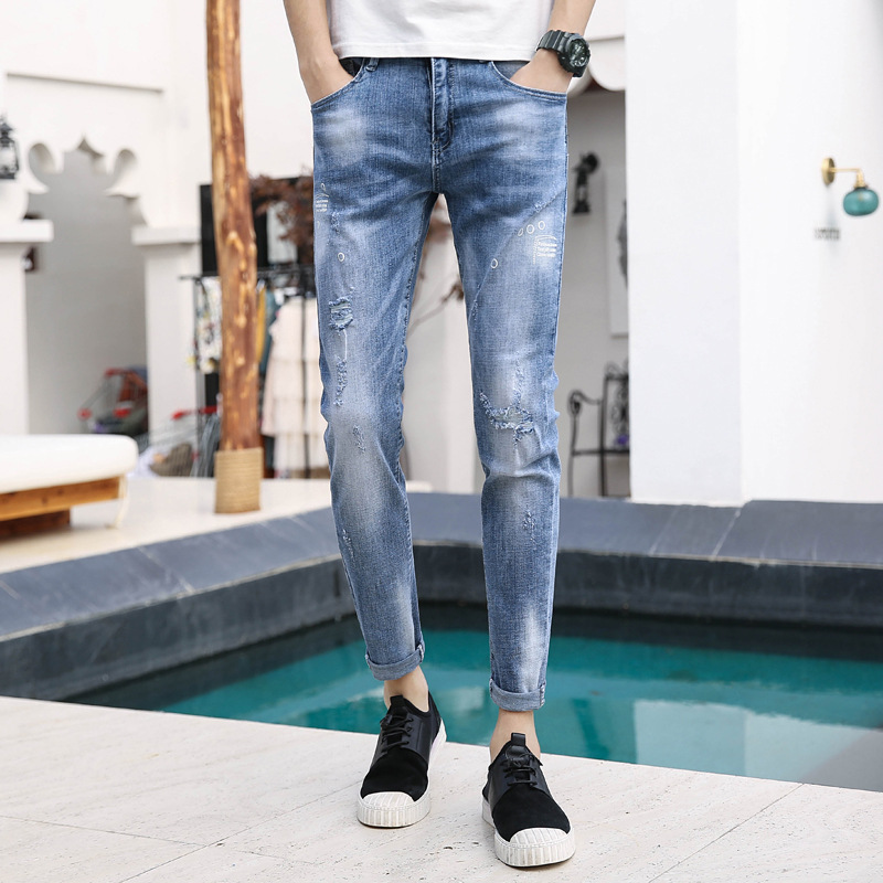 2019 Summer New Style MEN'S Jeans Korean-style With Holes Slim Fit Skinny Pants MEN'S Jeans