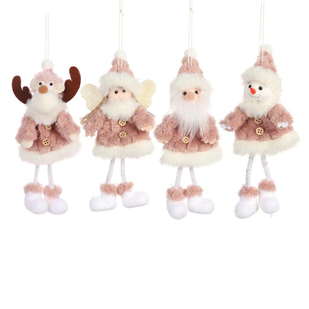 8 pièces décorations de noël créatif joyeux arbre de noël ornements en peluche père noël poupées décoration bonhomme de neige ornements artisanat - 5