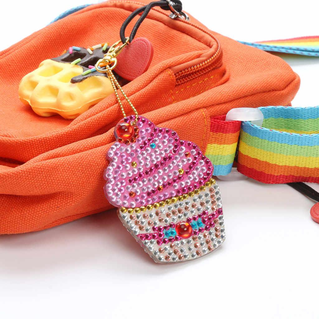 Padrão Cristal de Diamante Pintura DIY Animal Chaveiro Em Forma de Especial Bolo Coruja Broca Completa Mulheres Saco Cadeia Chave Do Carro Chaveiro Presente