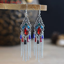 Chinese style chain tassel ethnic female temperament exaggerated long drop earrings vintage earrings ethnic tribal antique