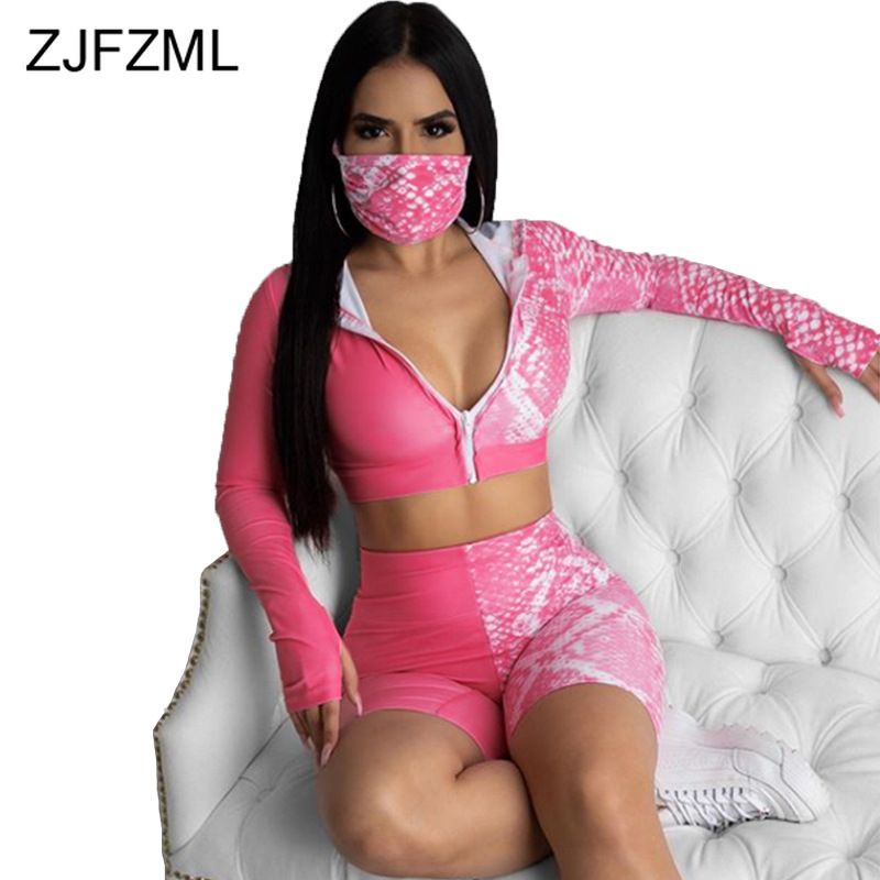 Tie Dyeing Print Summer Two Piece Set Tracksuit Women Front Zipper Long Sleeve Crop Top And High Waist Biker Short With Masks(China)