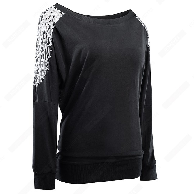 Stylish Floral Embroidery Loose Casual Autumn O-Neck Long Sleeve Brief  Women Tops E253 2