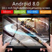 Android 8.0 Octa Núcleo Ram GB ROM 64 6GB Camera Wifi 10 polegada tablet phablet 4G FDD tablette tela de tablet 10.1 mutlti toque
