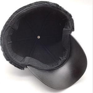 Image 5 - PU skórzana czapka z daszkiem zima oraz aksamitna pogrubienie Lei Feng czapka w średnim wieku kapelusz męska ciepłe nauszniki tata kapelusz Gorras