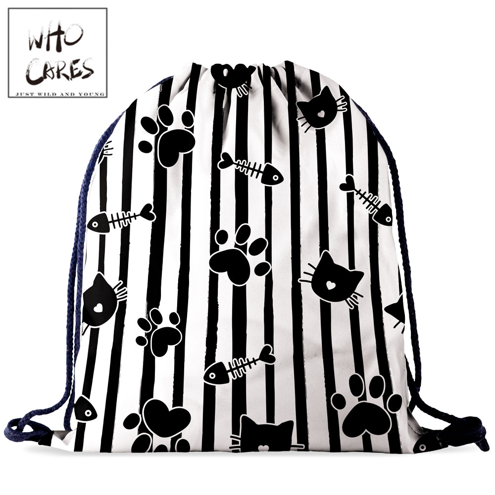 Who Cares Drawstring Bag Women Backpack Cat 3D Printing Fashion Gift Shoes Storage Bag Portable Outdoor Travel Bag