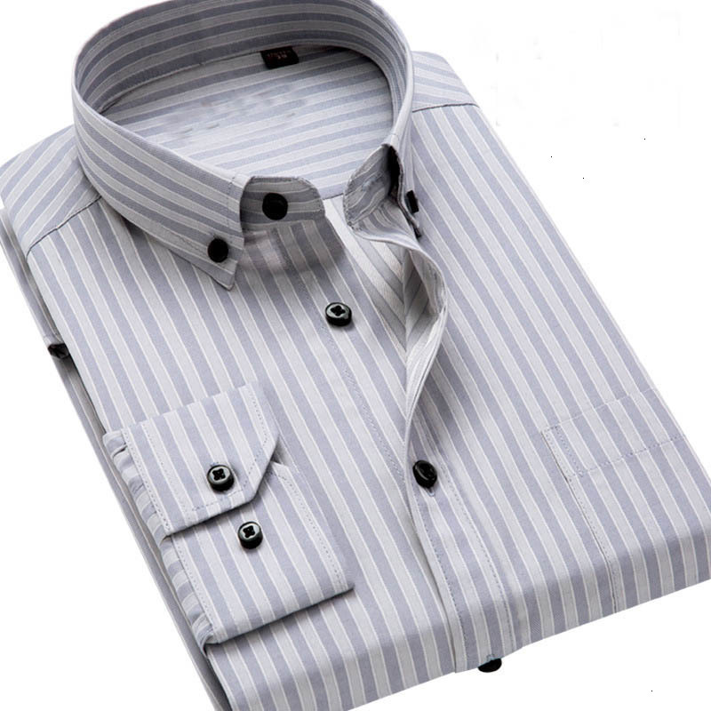 Quality Striped Button Down Long Sleeve Slim Fit Men Dress Shirt Male Clothing Business Shirts M-4XL Mens Shirts Regular Fit