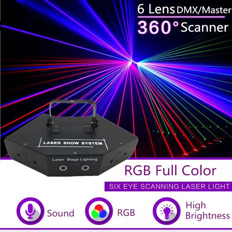 Six Eyes RGB Scan Full Color Laser/Laser Stage Lighting For DJ Disco Party KTV Nightclub And Dance Floor/Laser Show System/Beam-in Stage Lighting Effect from Lights & Lighting