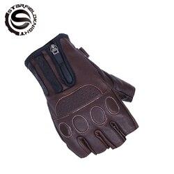 Retro Summer Motorcycle Riding Gloves Fingerless Goat Leather Motocross Half Finger Gloves MTB Biker Cycling Gloves Unisex