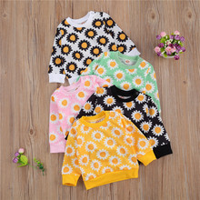 Sweatshirts Hoodies Girls Infant Winter Floral Top Pullover Sunflower Long-Sleeve Round-Neck