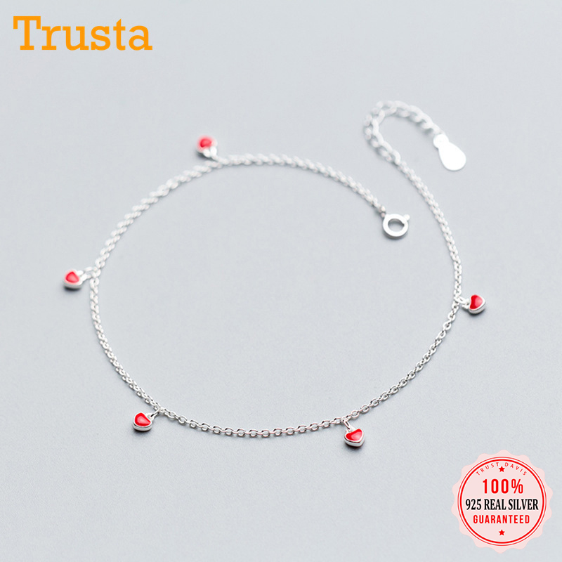 Trustdavis 100% 925 Real Sterling Silver Fashion Women's Jewelry 5 Red Heart 21cm Sweet Anklets For Women Sterling Silver DS600