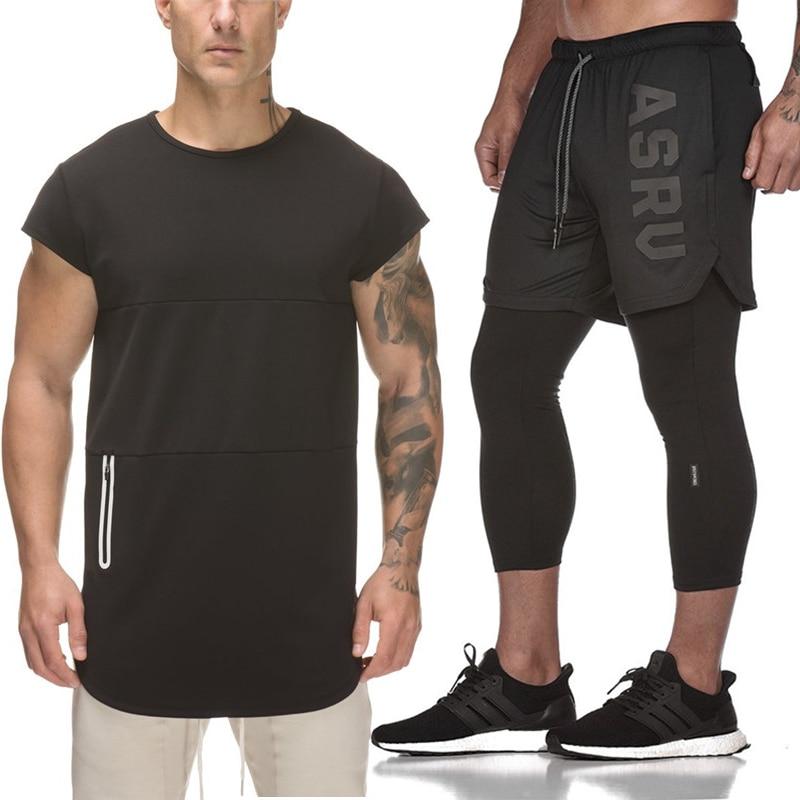 2-In-1 Shorts Tracksuit-Set Pants Sportwear Men's Fashion FAKE Tee Gyms
