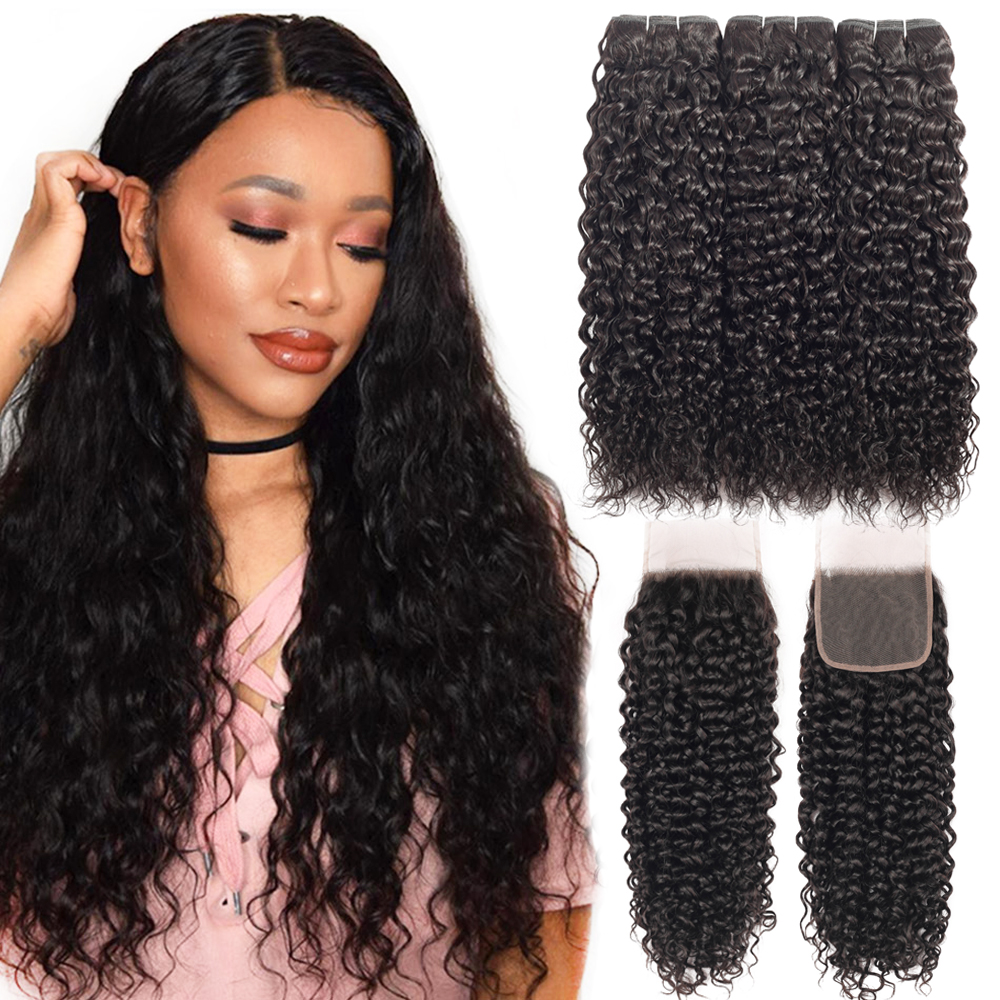 Brazilian Hair Weave 100% Human Hair Water Wave Curly 3 Bundles With Closure Remy Hair Extensions Brazilian Hair Weave Bundles