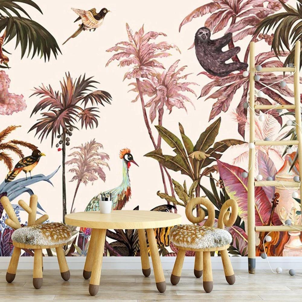 Safari Removable Wallpaper Non Woven Tropical Wall Mural Tropical Jungle Animals Mural Wallpaper Stdm5057 Wallpapers Aliexpress