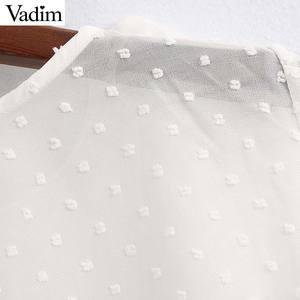 Image 5 - Vadim נשים אלגנטי לבן קצר סגנון חולצה שלושה שרוול רבעון נשי מזדמן חולצה לראות דרך ראפלס חולצות blusas LB744