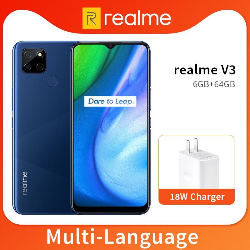 Realme V3 6 ГБ 64 Гб/128 Гб мобильный телефон 6,5 ''720 * 1600HD + 5000 мАч аккумулятор 13 МП Тройная камера