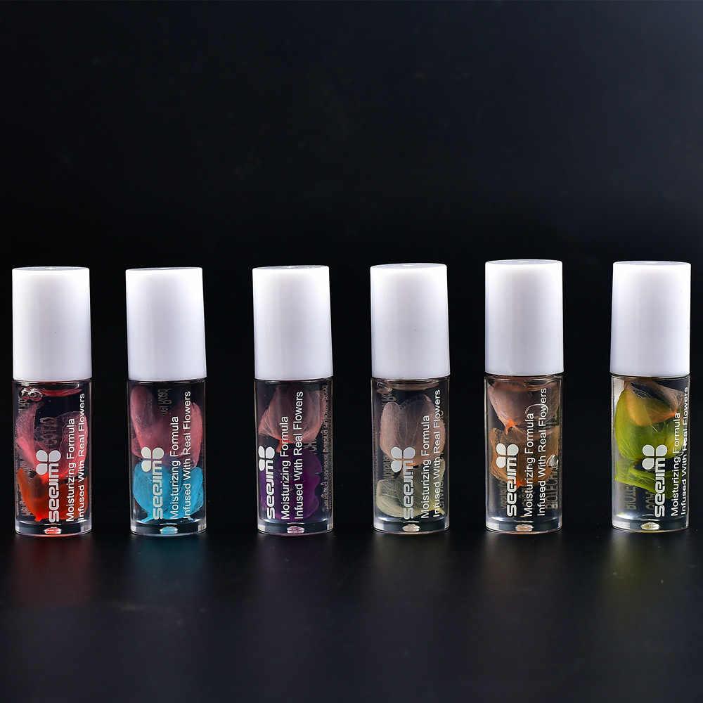 คริสตัลลิปสติกริมฝีปาก Nutritious Lip Oil CLEAR ลูกกลิ้งแห้งดอกไม้ Lip Essence Long Lasting Moisturizing SHINY Lip GLOSS