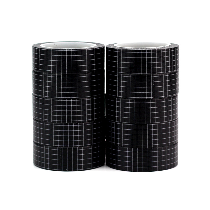 10pcs/lot Decorative Basic Black Grid Washi Tapes Paper DIY Scrapbooking Planner Adhesive Masking Tapes Cute Stationery