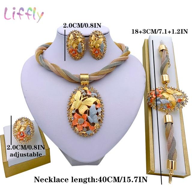 Brincos de jóias de ouro de dubai conjuntos de jóias para o casamento feminino anel de pulseira de noiva pingente de jóias conjunto 6