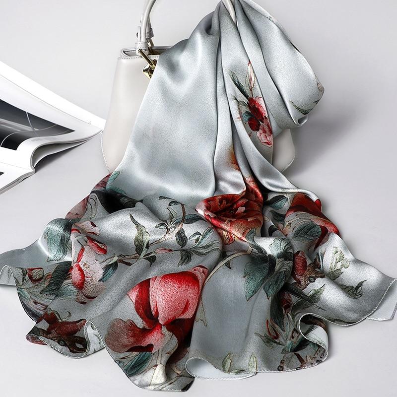 Image 5 - Floral Scarf Silk Women Spring Shawls and Wraps Foulard Pashmina Scarves Print 100% Silk Foulard for LadyWomens Scarves   -