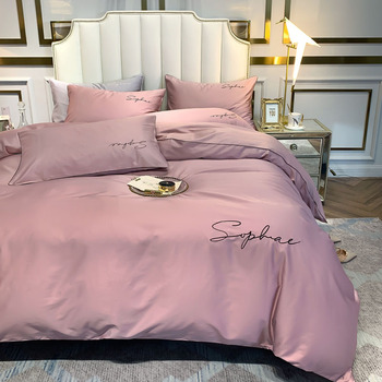 4pcs Pink Beddings Set Duvet Cover Flat Sheet Fitted Sheet Pillowcases Without Filler 100% 60S Cotton Luxury 2 Colors Options