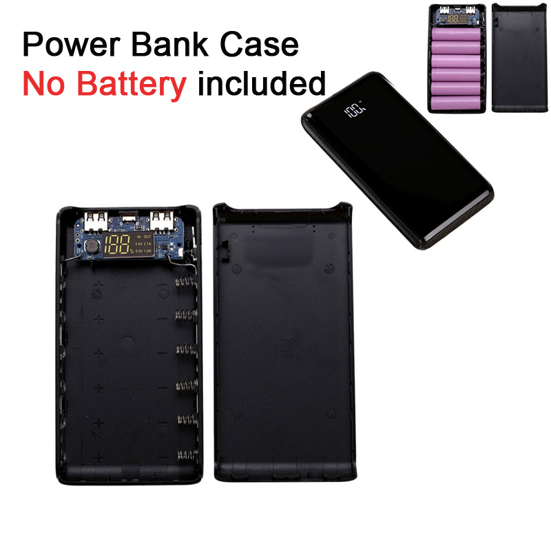 LEORY LED 5V DIY Power Bank Dual USB 6x18650 Battery Case Charging Power Supply Powerbank Charger Cover External Battery