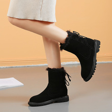цены New 2019 Mid-Calf Women Boots Winter Fashion Keep Warm Non-Slip and Wearproof Lady Suede Shoes Round Toe Hook & Loop Handmade