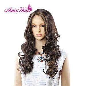 Image 4 - Amir perruque Lace Front synthétique ondulée longue pour femmes au teint noir et blanc, coiffure de Cosplay résistante à la chaleur, Ombre noire, Blonde, rouge