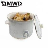 DMWD 1.5L Electric Mini Slow Cooker Stew Soup Porridge Health Pot Time Control Ceramic Baby Food Cooking Machine Meal Steamer EU