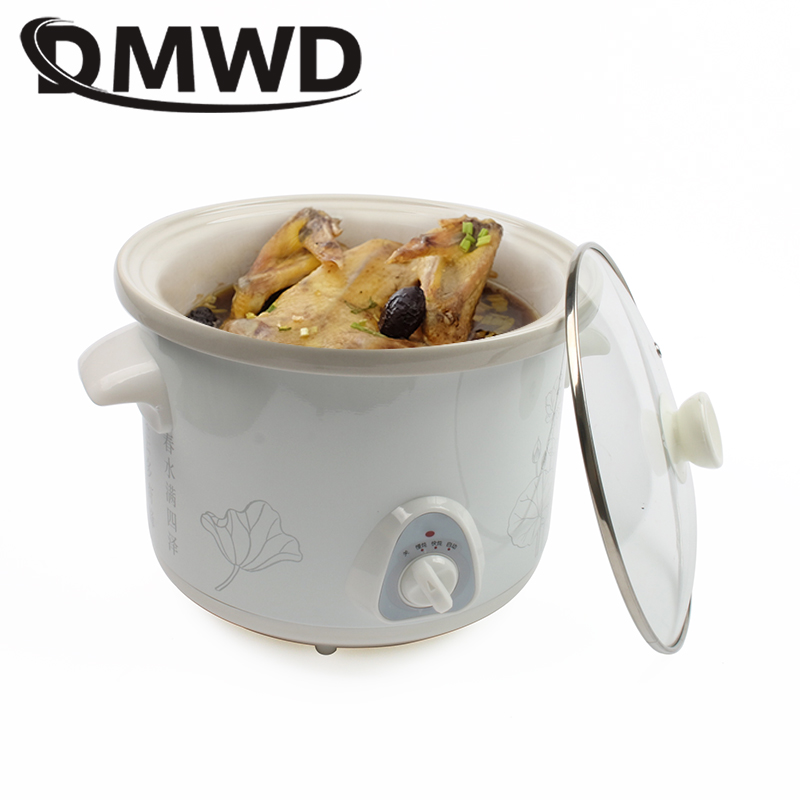 DMWD 1.5L Electric Mini Slow Cooker Stew Soup Porridge Health Pot Time Control Ceramic Baby Food Cooking Machine Meal Steamer EU