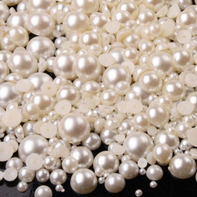Perles demi-rondes en acrylique   100 pièces 2-14mm, ivoire blanc, perles de perles plates en Imitation ABS pour la fabrication de bijoux/Nail Arts/décoration de téléphone