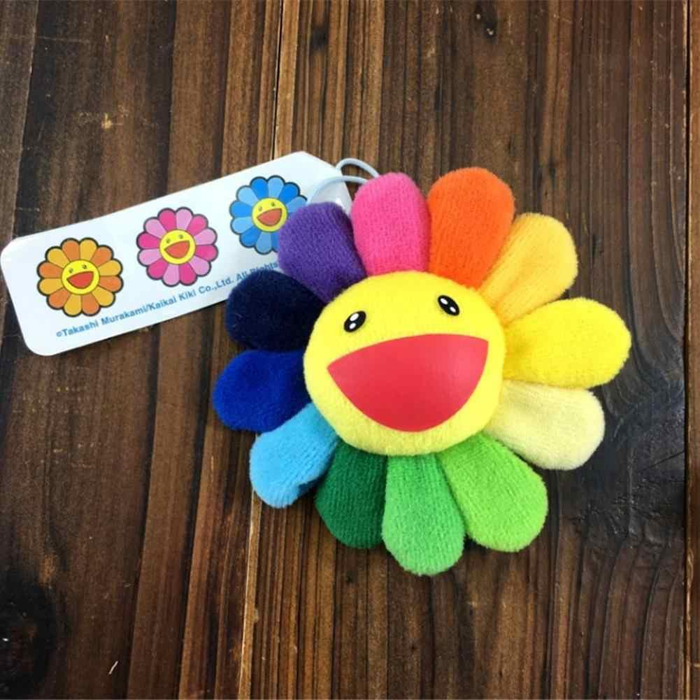 Подсолнух цветок каваи Подвеска для сумки милый смайлик лицо цветок Подсолнух плюшевая брошь Мураками висячие украшения сумка Подвеска