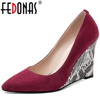 FEDONAS  Women Pumps High Heeled Kid Suede High Quality Elegant Pointed Toe Prom  Shoes Spring Summer Concise Shoes Woman