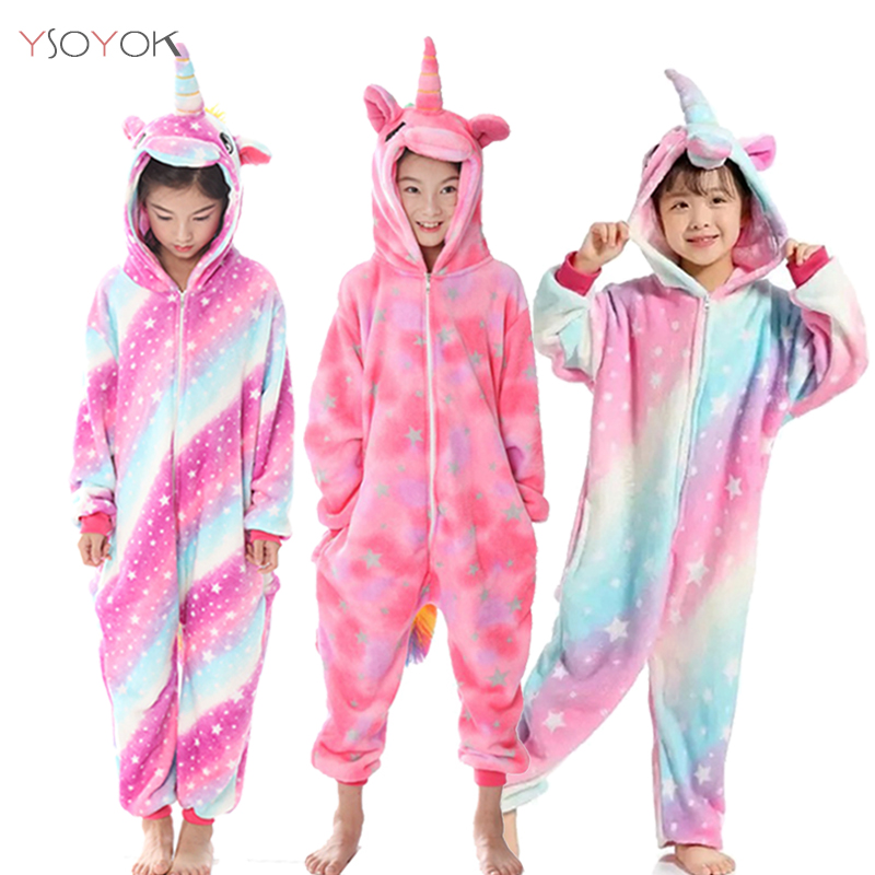Winter Kigurumi Pajamas Unicorn For Children Girls Pyjamas Boy Sleepwear Panda Licorne Animal Onesie Kids Jumpsuit Baby Costume