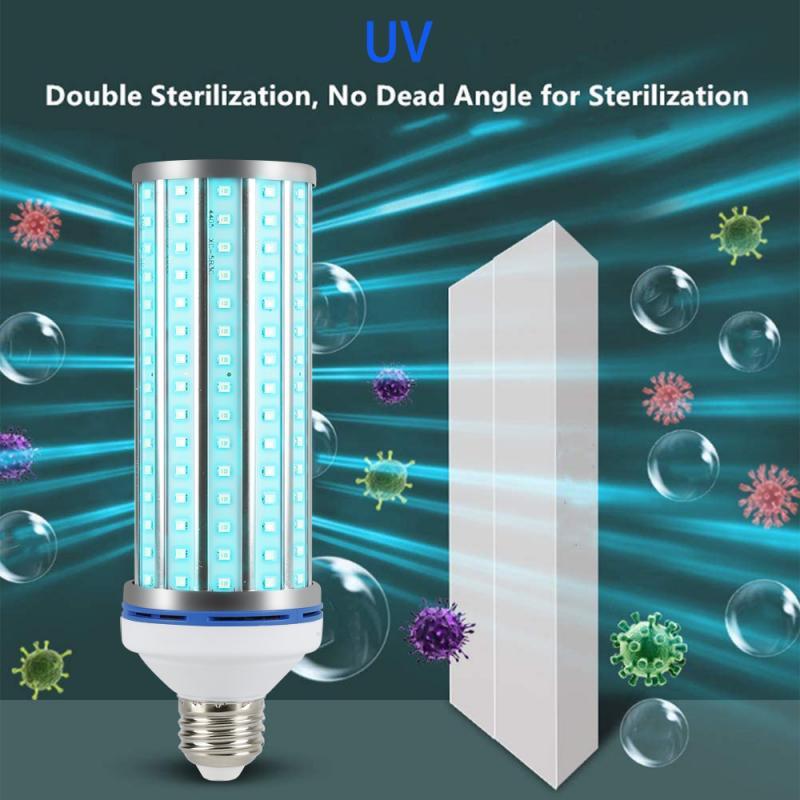 60W UV Germicidal Corn Lamp LED UVC Bulb E27//E26 Home Ozone Disinfection Light