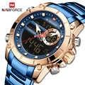 NAVIFORCE 男性ミリタリースポーツ腕時計ゴールドクォーツ鋼防水デュアルディスプレイ男性時計腕時計レロジオ Masculino 9163