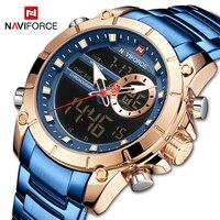 NAVIFORCE Männer Militär Sport Armbanduhr Gold Quarz Stahl Wasserdicht Dual-Display Männlichen Uhr Uhren Relogio Masculino 9163