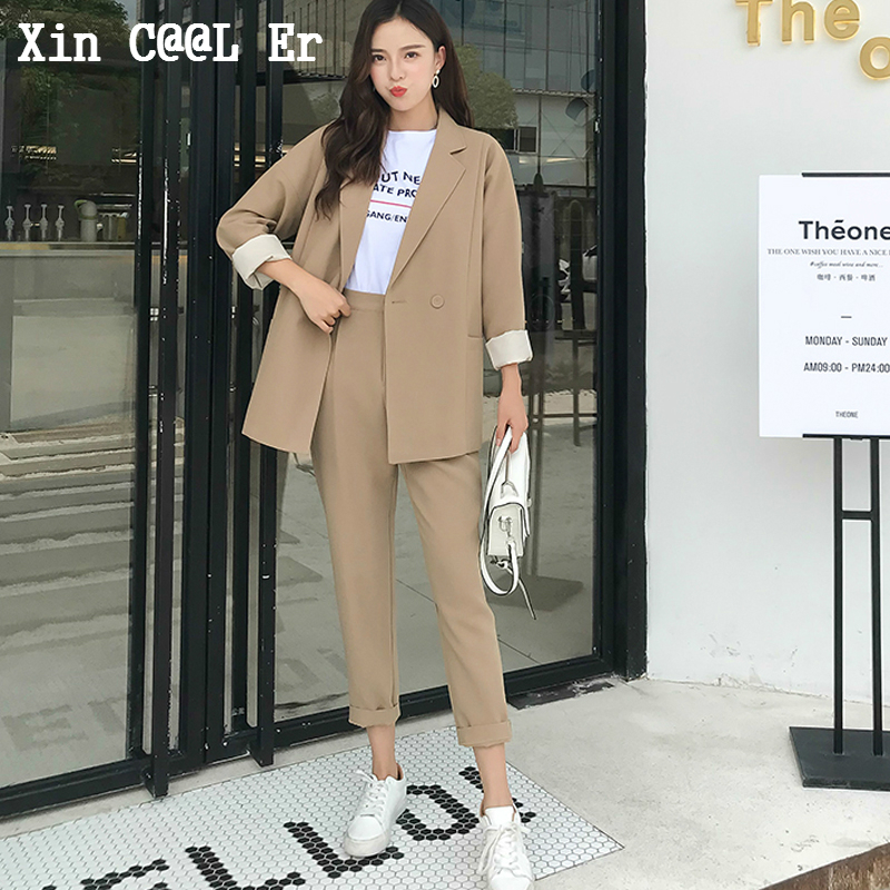 Fashion New High Quality Casual Solid Women Pant Suits Notched Collar Blazer Jacket Pencil Pant Khaki Female Suit Autumn Set