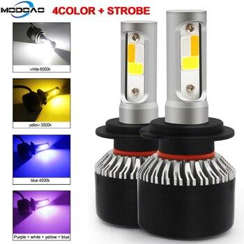 цена на 2PCS LED Car Headlight H4 H7 Dimmable 4Colors+Flash Strobe Auto Bulb 6000K 8000K 4300K White Blue Amber Lamp Fog Light Bulbs