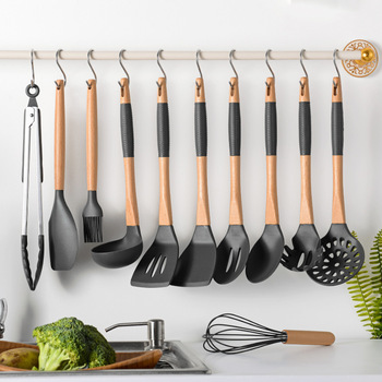 1set Silicone Kitchen Tools Cooking Sets Soup Spoon Spatula Non-stick Shovel With Wooden Handle Special Heat-resistant Design
